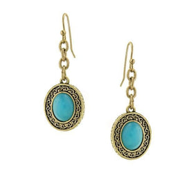 Gold-Tone Turquoise Oval Drop Earrings