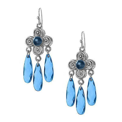 Silver-Tone Blue Chandelier Drop Earrings