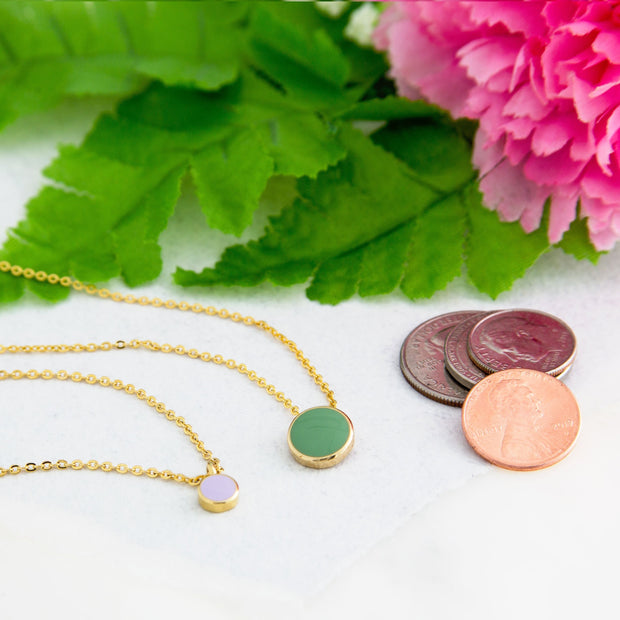 1928 Jewelry 14K Gold Dipped Dainty Round Enamel Pendant Necklace 16 In (Large) Light Purple