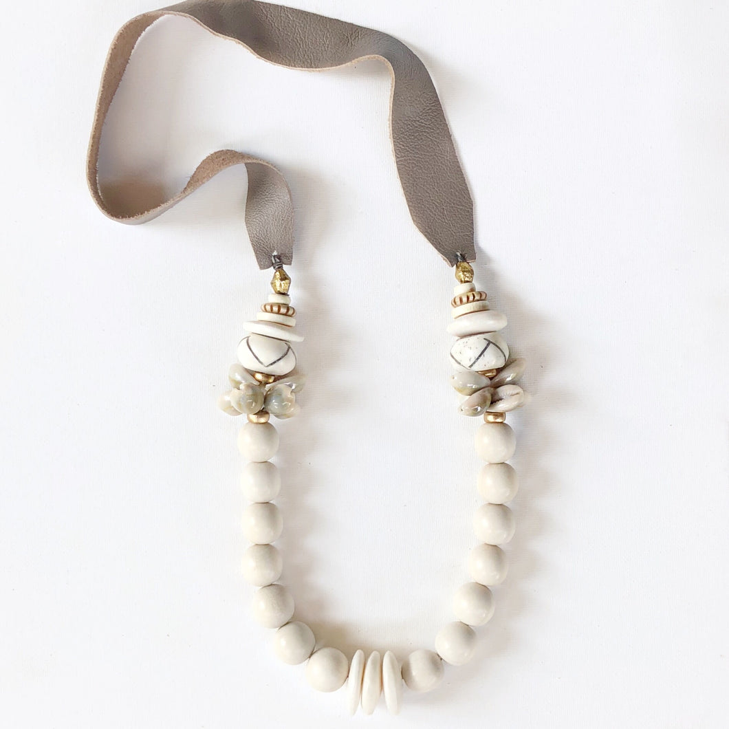 Cowrie leather Necklace