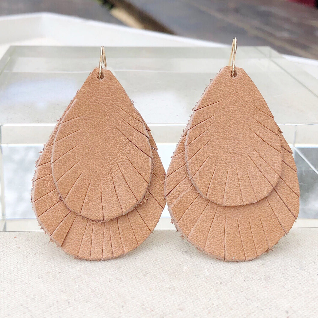 Apricot leather earrings