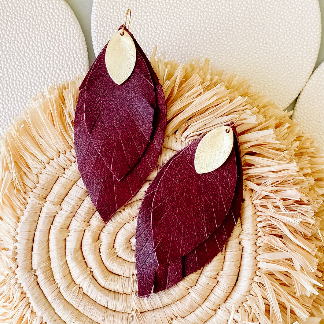 Cranberry leather Feather Earring