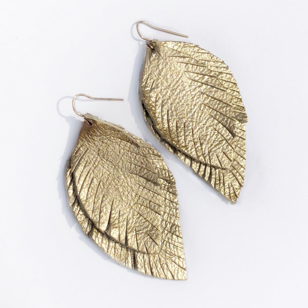 Gold Leather Feather Earring