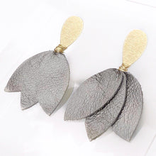 Gia metallic leather earrings