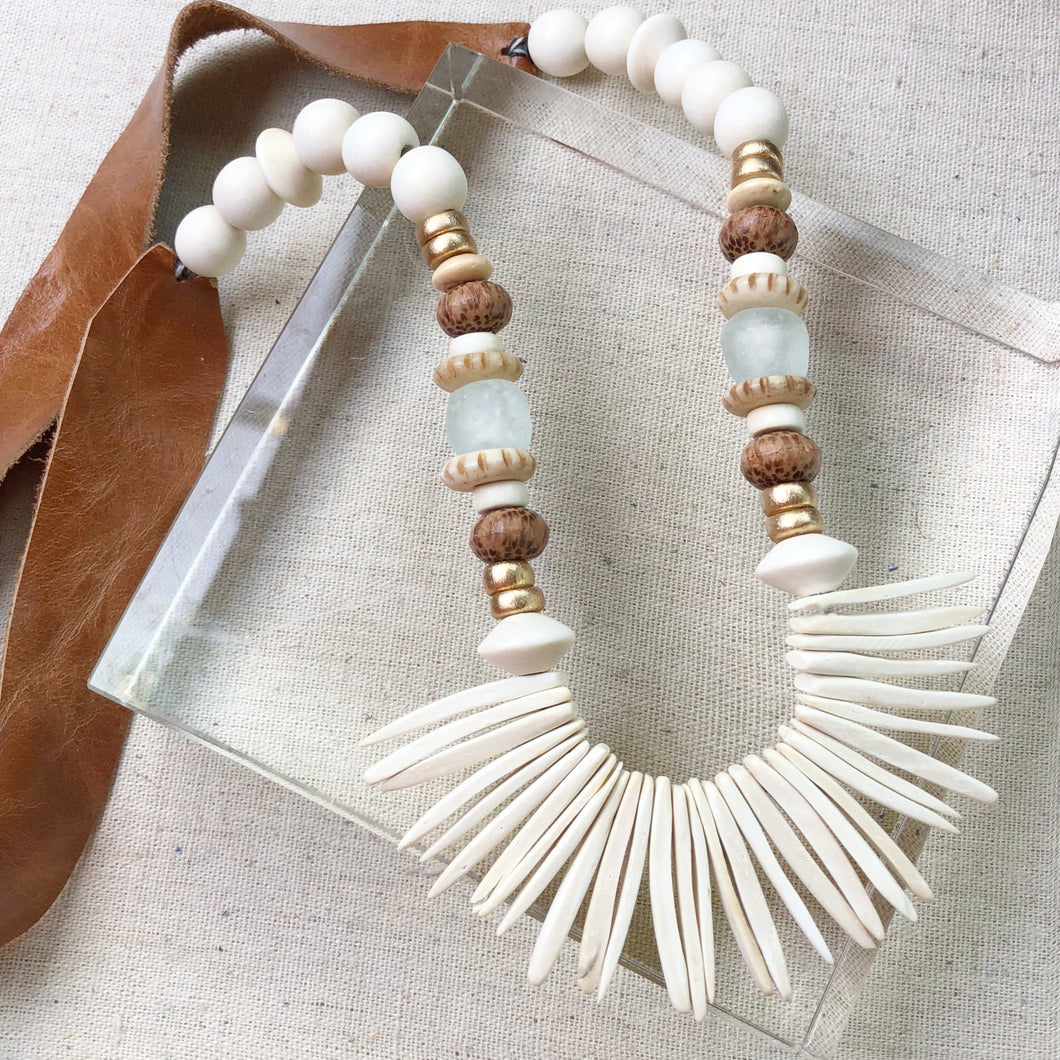 White Coconut Wood Necklace