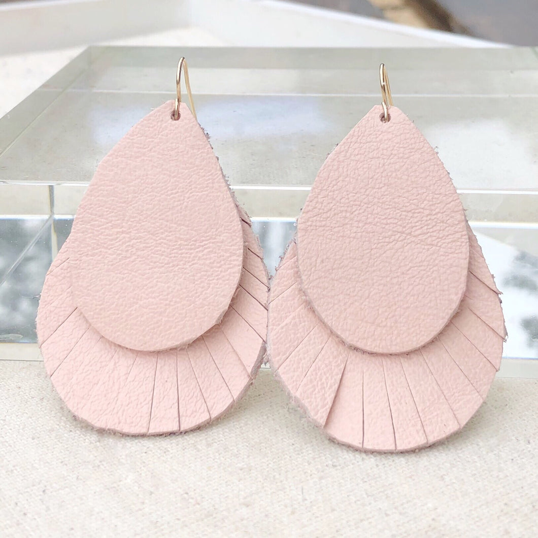 Pedal Pink Leather Earring
