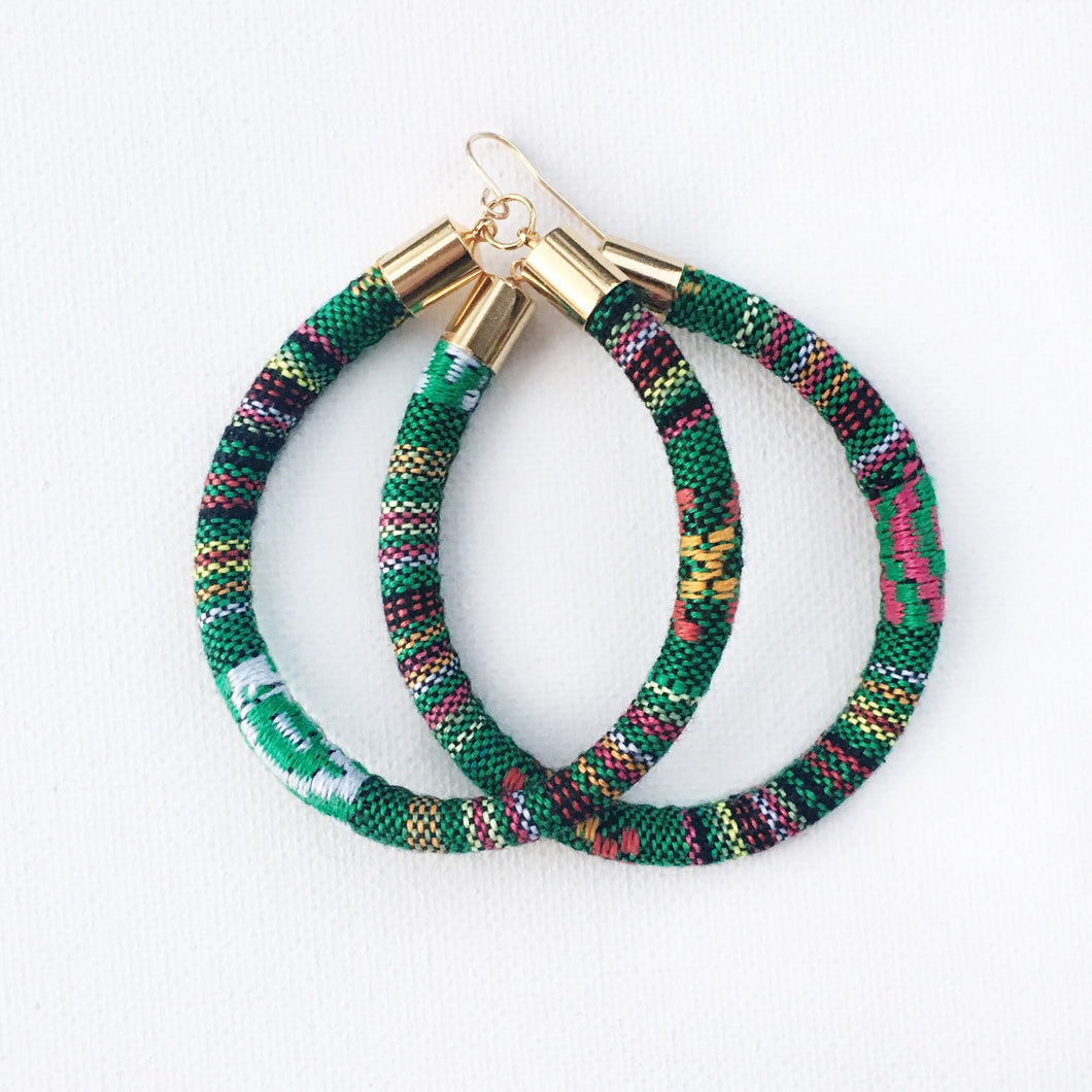 Green Native Hoop earring