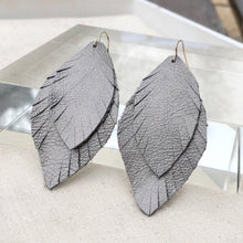 Metallic Grey Feather Earrings