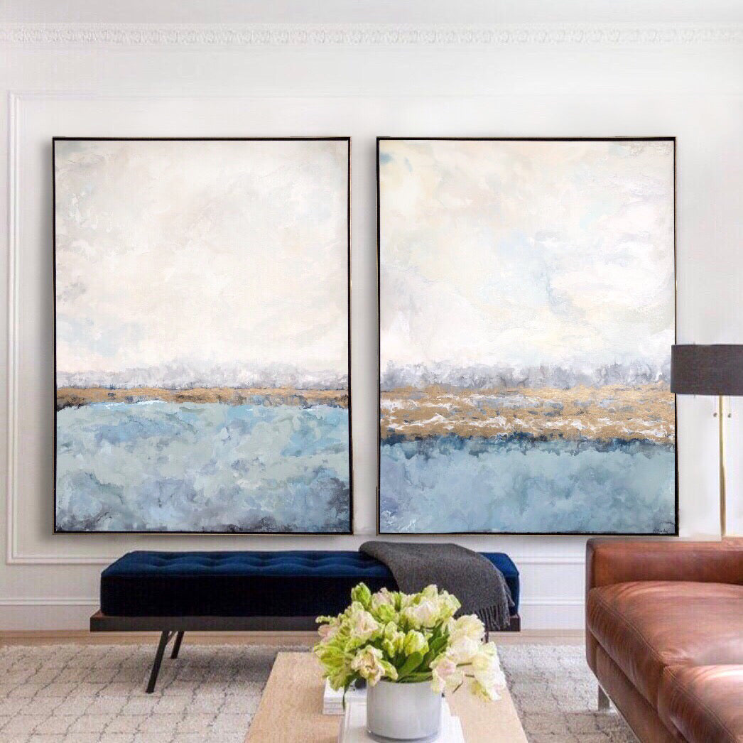 Pair of abstract art paintings