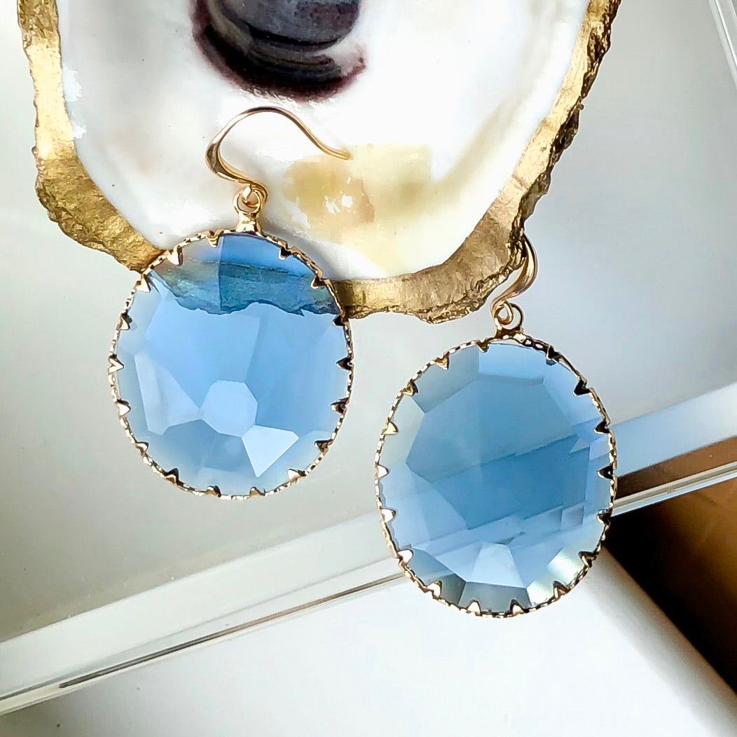 Smokey Blue Topaz Earrings