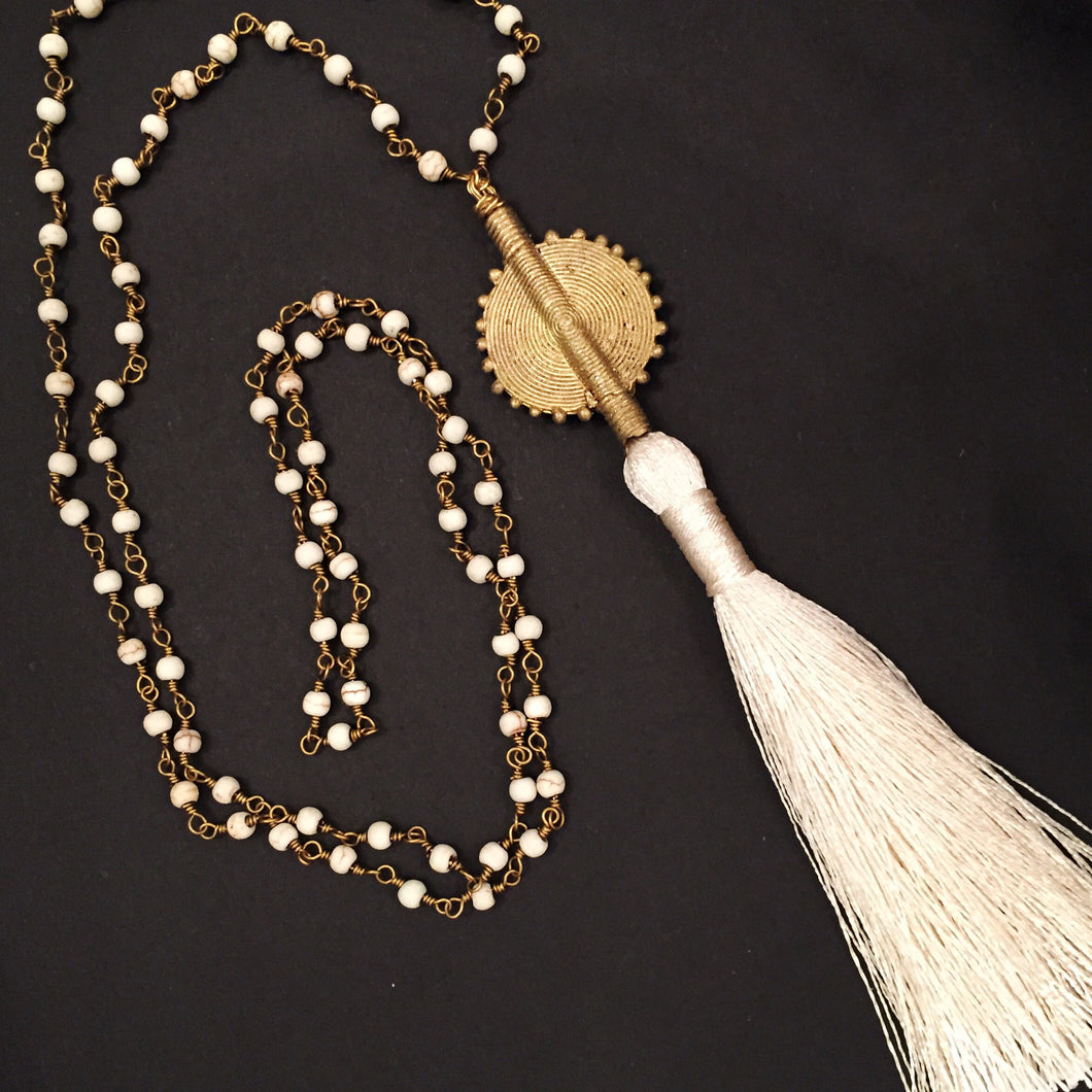 Silk ivory brass tassel necklace