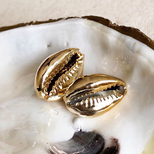 Gold cowrie earring