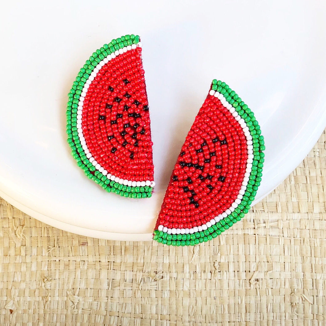 Watermelon Seed Bead Earring