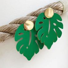 Leather Palm Leaf Earring