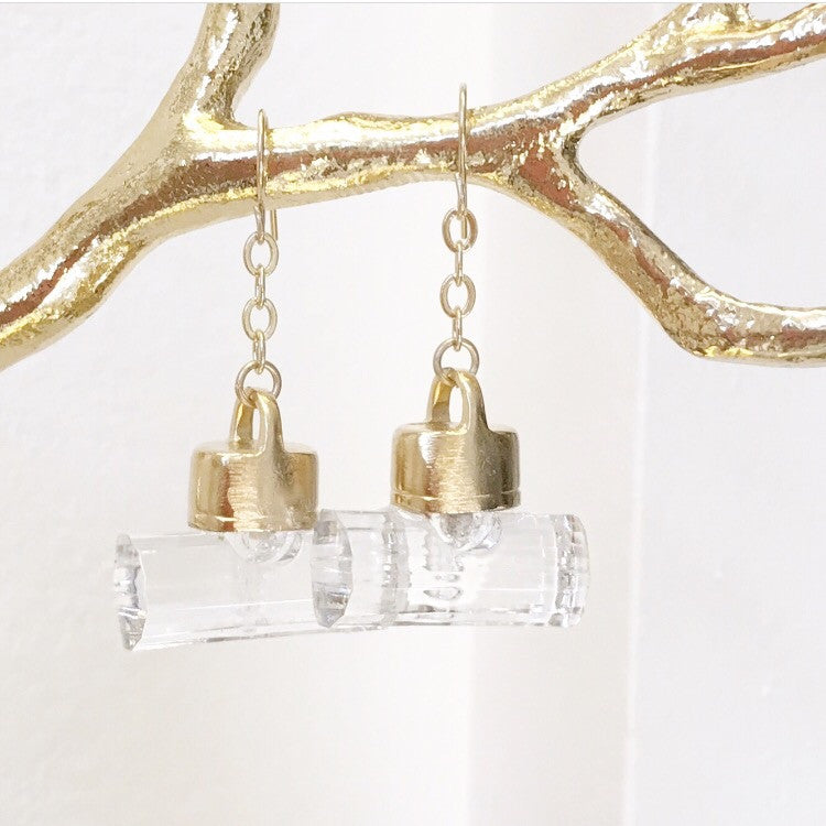 Gold Lucite earring