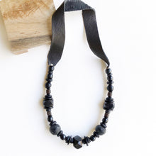 Onyx leather necklace