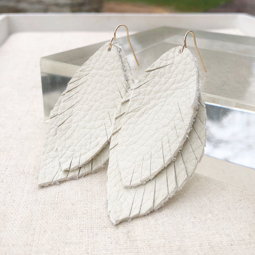Cashmere white leather Feather Earrings
