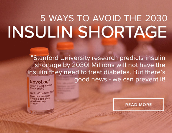 "8 bottles of insulin medication sit on a wooden table. All but the front most left bottle is out of focus. The bottles have orange caps, clear bottles, and a white tag with black text. The image reads: "" 5 Ways to Avoid the 2030 Insulin Shortage."""