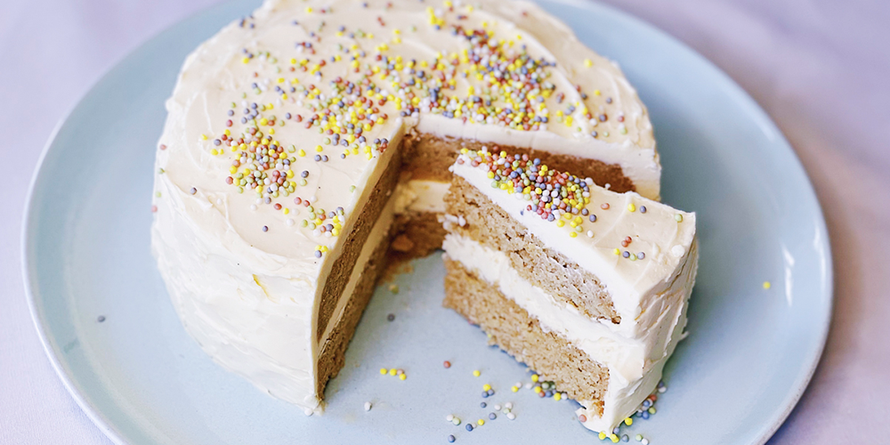 Instant Pot Keto Birthday Cake with Vanilla Buttercream Frosting