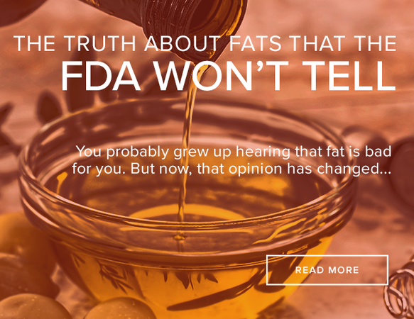 "Honey is being poured from a bottle into a small, clear bowl which is three quarters full. The image reads: ""The Truth about Fats that the FDA won't Tell."""