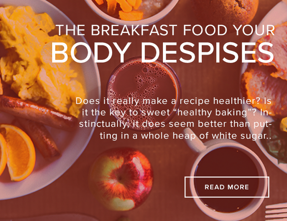 "A table is littered with popular American breakfast food including, a plate of eggs, sausage, and oranges, a cup of coffee, a loaf of bread and more. The image reads: ""The Breakfast Food Your Body Despises."""