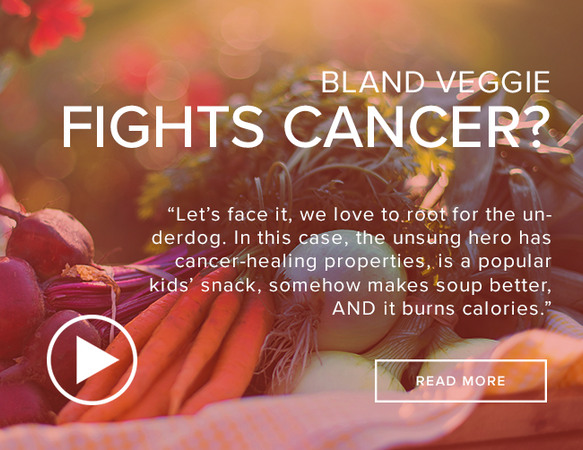 "A close-up shot of a variety of vegetables (carrots, beets, etc.) that appear to be in a wagon. The image reads ""Bland Veggie Fights Cancer""."
