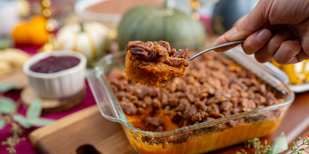 Sweet Potato Casserole with Candied Pecans