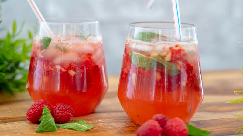 Raspberry Ginger Virgin Mojitos