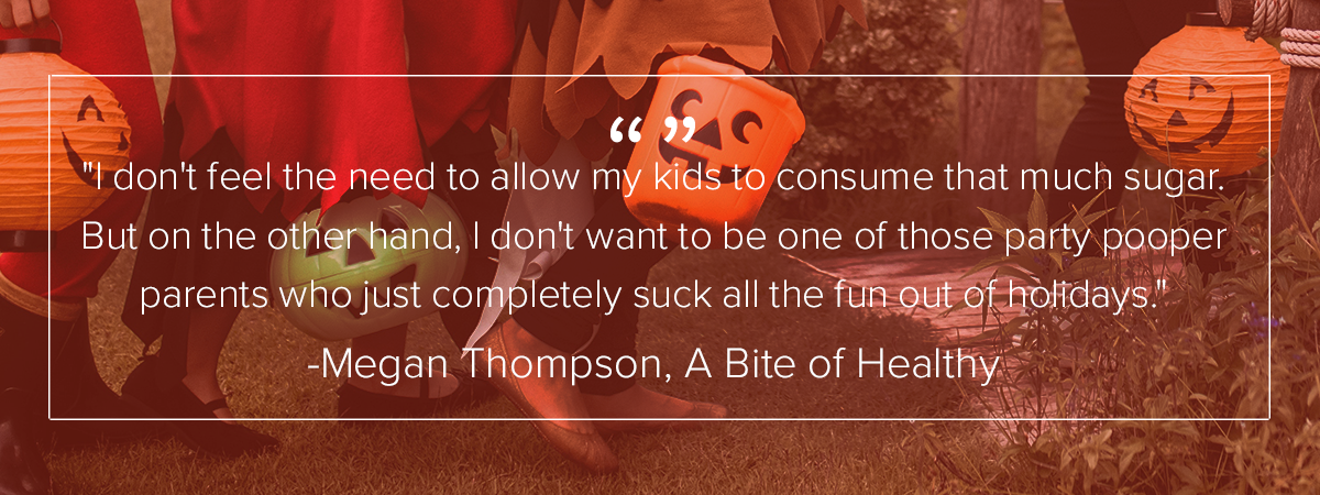 "4 children carrying pumpkin baskets are trick or treating. The words over the image:  ""I don't feel the need to allow my kids to consume that much sugar but on the other hand, I don't want to be one of those party pooper parents who just completely suck all the fun out of holidays."""