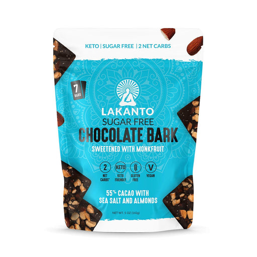 Chocolate Bark with Sea Salt and Almonds (55% Cacao) -Sugar-Free, Vegan