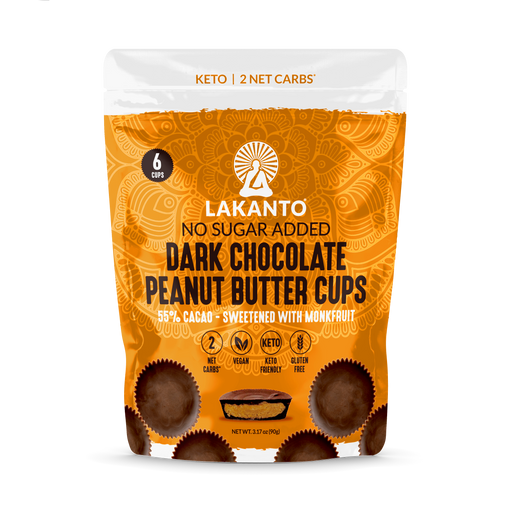 The front cover of Lakanto's dark chocolate peanut butter cups pouch.