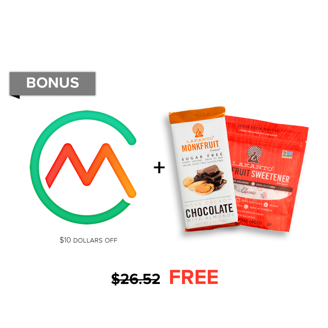 $26.52 Bonus: Classic Sweetener Packets ($7.99 value), Almond Chocolate Bar ($8.53 value) & $10 off Carb Manager Premium!
