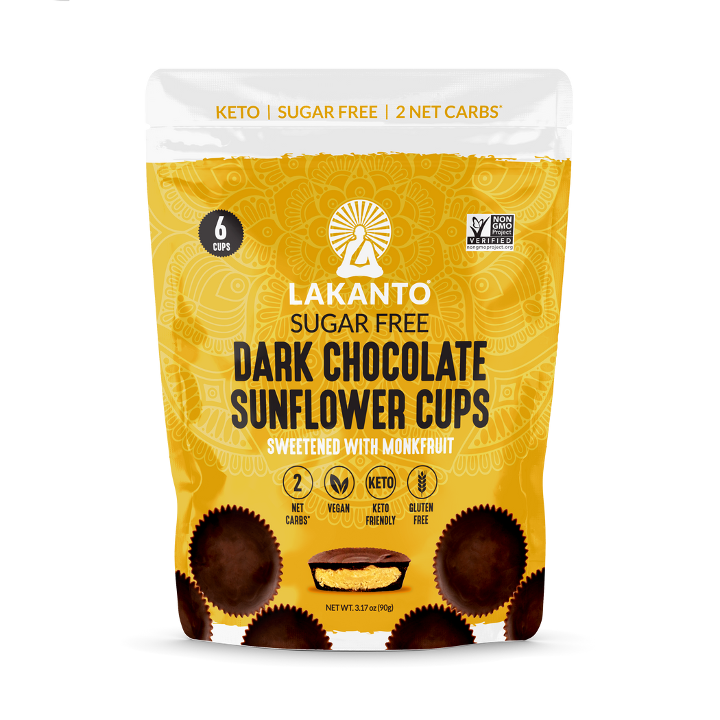 The front cover of Lakanto's sugar-free dark chocolate sunflower butter cups sweetened with monk fruit pouch.