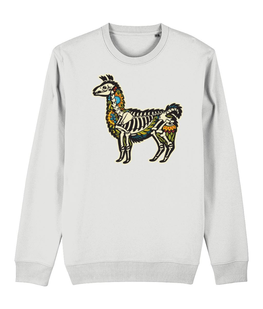 Alpaca skeleton Sweatshirt Clothing IndianBelieves White X-Small