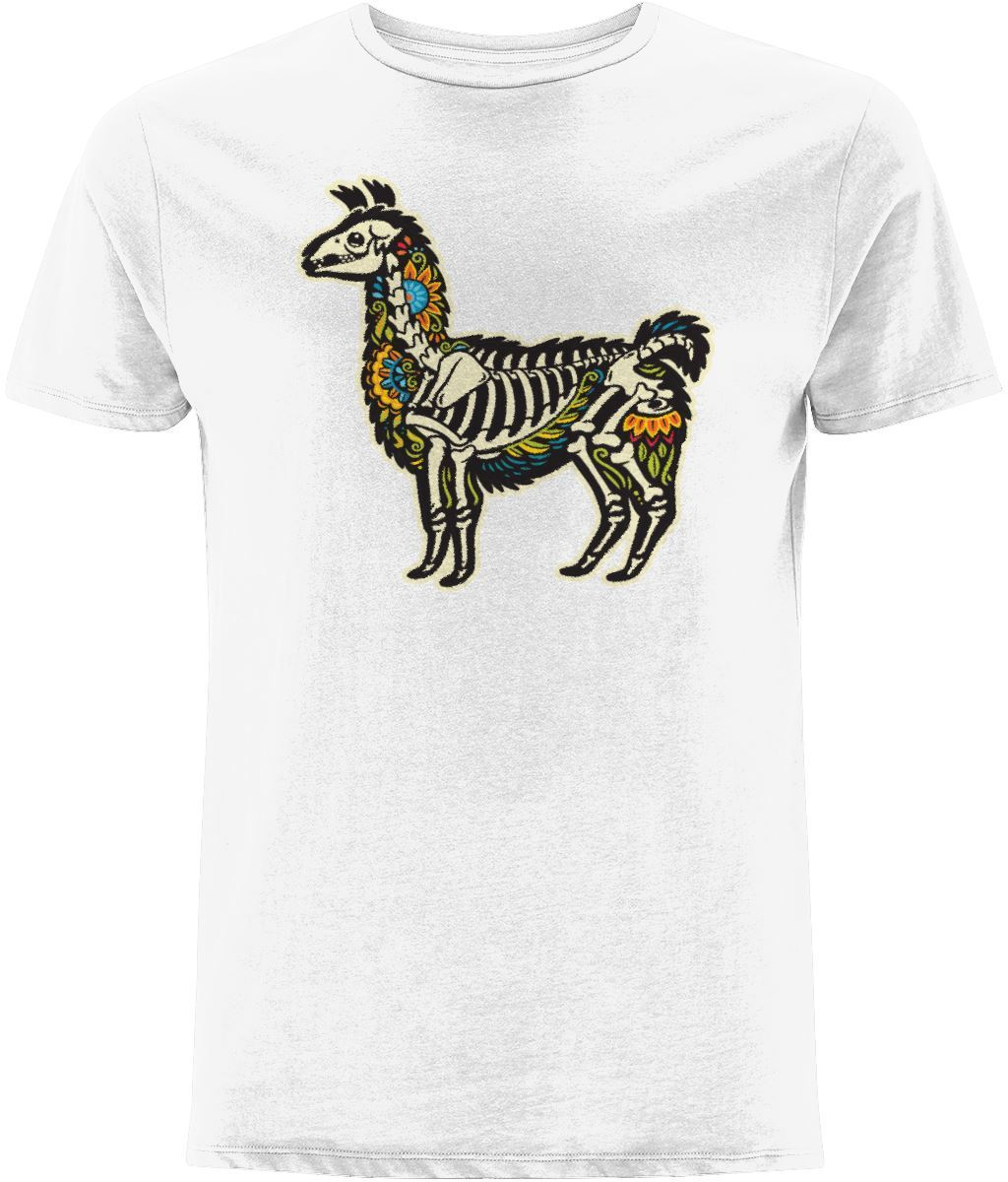 Alpaca Skeleton T-shirt Clothing IndianBelieves White X-Small