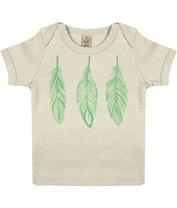 Baby T-shirt | Green Feather | Sustainable Fashion - IndianBelieves