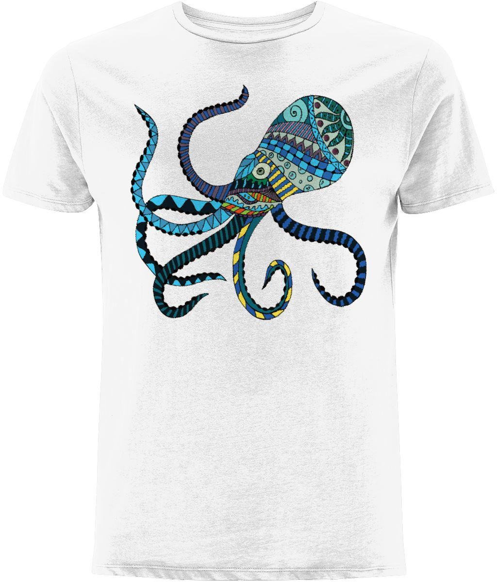 Blue Octopus T-Shirt Clothing IndianBelieves White X-Small