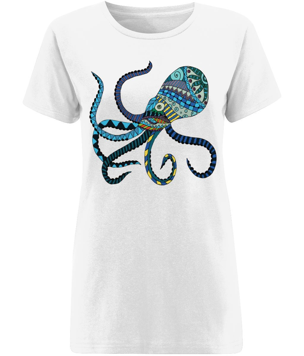 Blue Octopus T-shirt Clothing IndianBelieves X-Small White