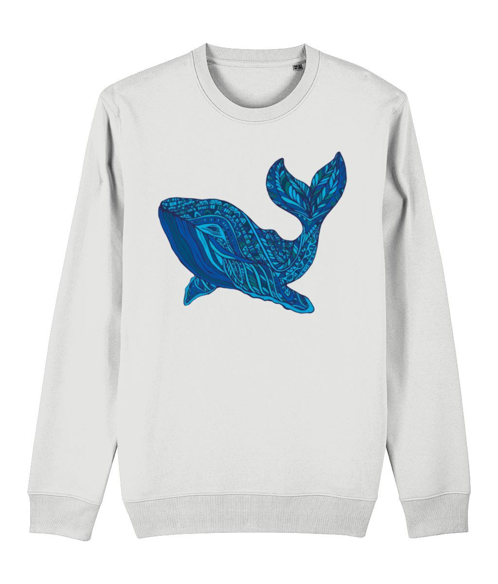 Blue Whale Sweatshirt Clothing IndianBelieves White X-Small
