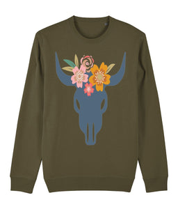 Bohemian Bull Skull Sweatshirt | Sustainable Fashion - IndianBelieves