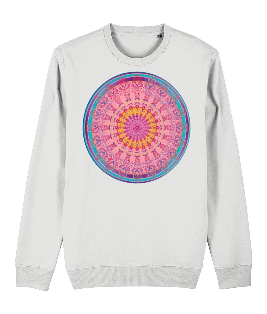 Bohemian Circle Sweatshirt Clothing IndianBelieves White X-Small
