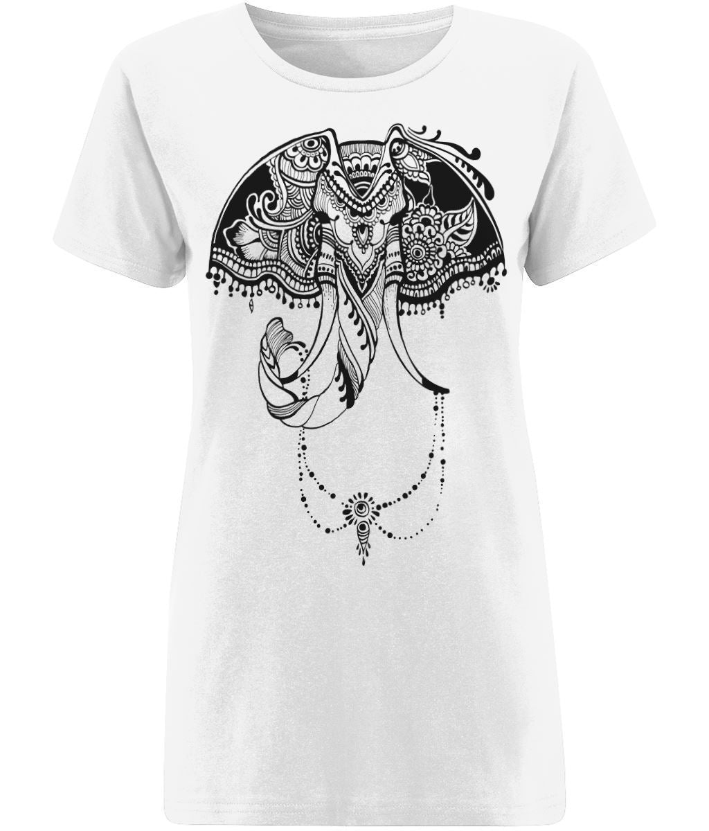 Bohemian Elephant T-shirt Clothing IndianBelieves X-Small White