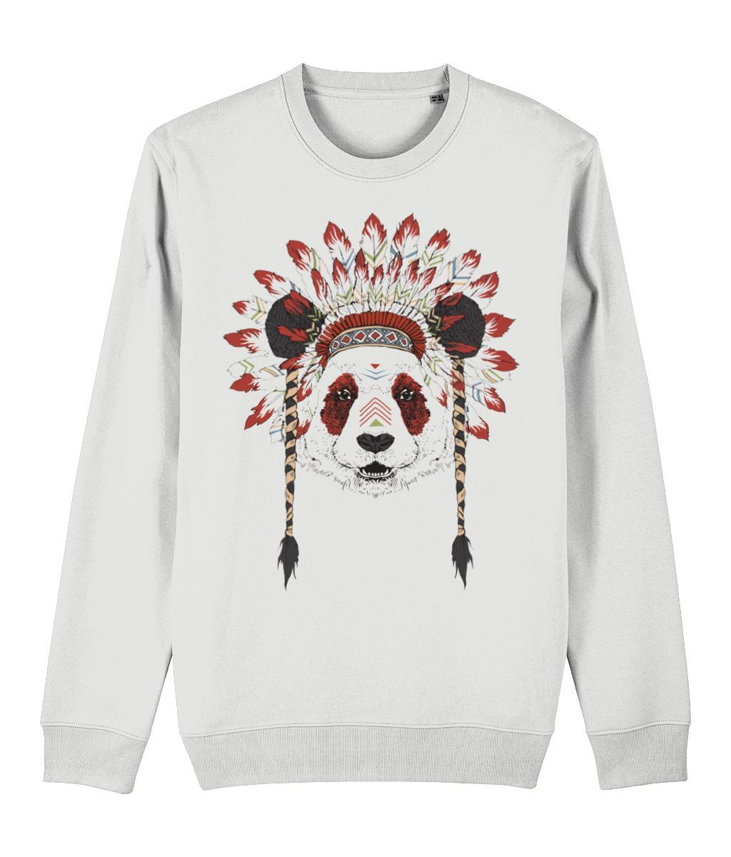 Bohemian Panda Sweatshirt Clothing IndianBelieves White X-Small