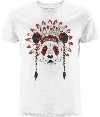 Bohemian Panda T-shirt Clothing IndianBelieves White X-Small