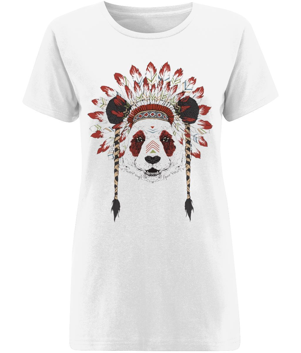Bohemian Panda T-shirt Clothing IndianBelieves X-Small White