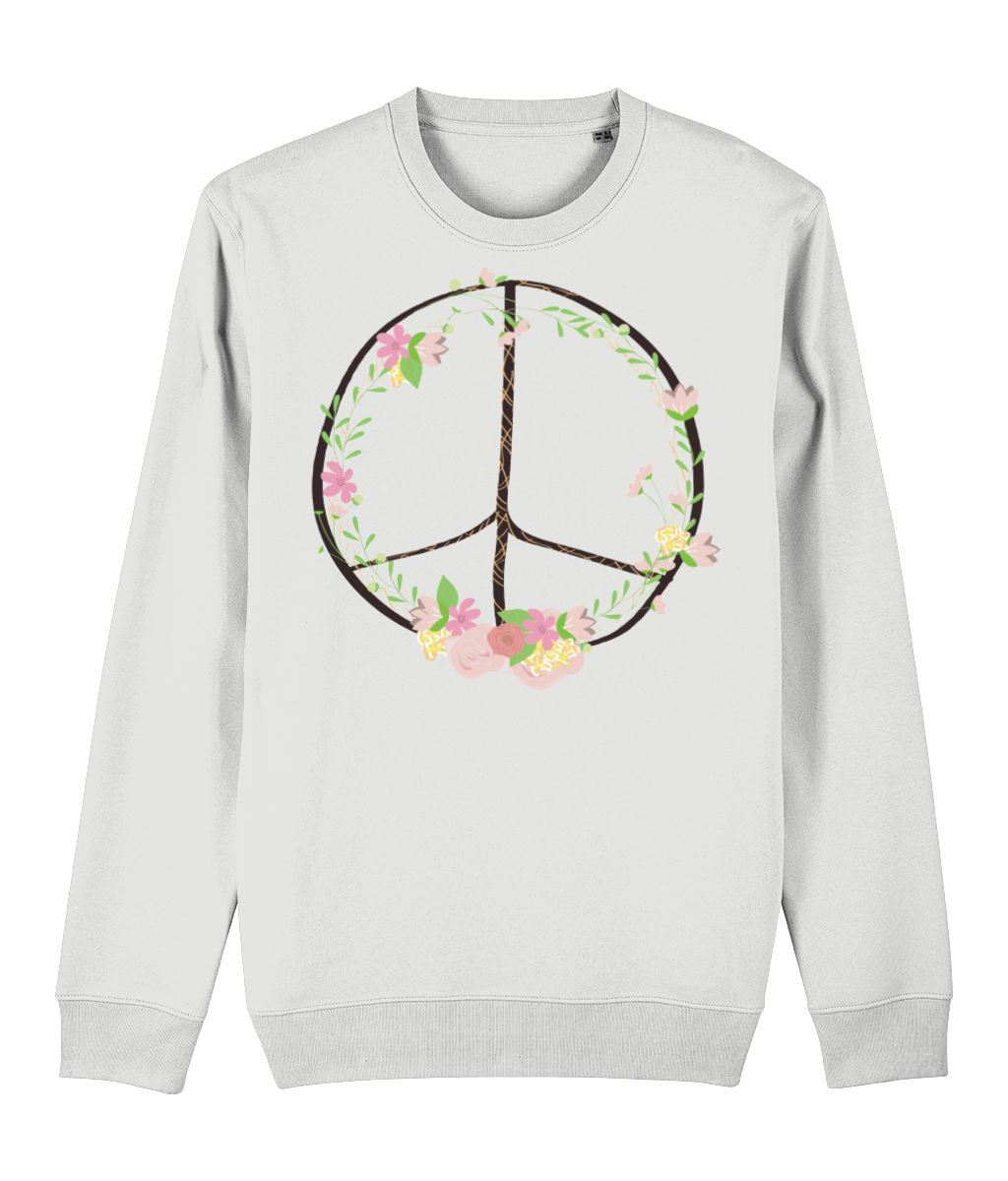 Bohemian Peace Sweatshirt Clothing IndianBelieves White X-Small