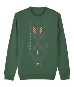 Boho Totem III Sweatshirt Clothing IndianBelieves Bottle Green X-Small