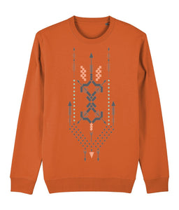 Boho Totem III Sweatshirt Clothing IndianBelieves Bright Orange X-Small