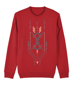 Boho Totem III Sweatshirt Clothing IndianBelieves Bright Red X-Small