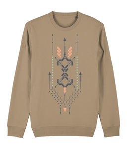 Boho Totem III Sweatshirt Clothing IndianBelieves Camel X-Small